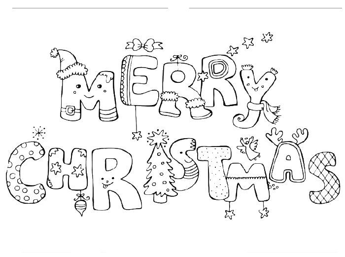 Merry Christmas colouring Printable page for adultshttps