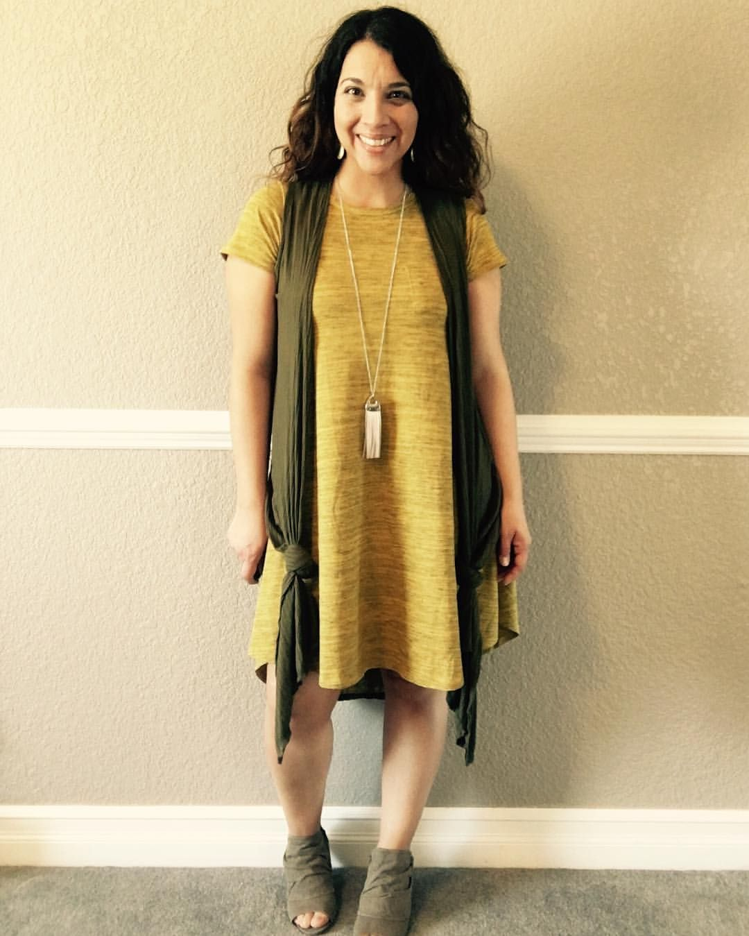 Green dress night out  LuLaRoe yellow mustard Carly dress layered with a green knotted Joy