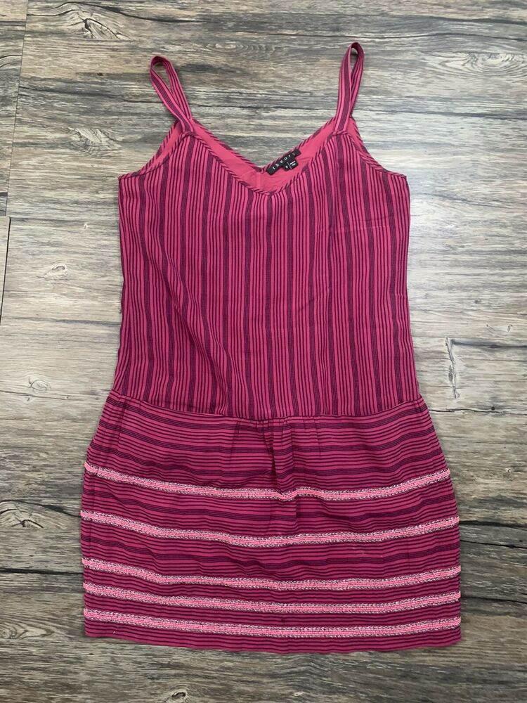 Theory Sially Mini Tank Dress Striped Beaded Bottom Sz 8 Womens 23M