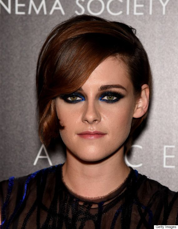 Kristen Stewart shows off a refreshing take on the smokey-eye, complete with side-swept bangs and a nude lip.