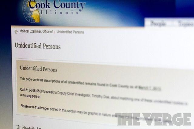 Illinois medical examiner puts unidentified corpses online