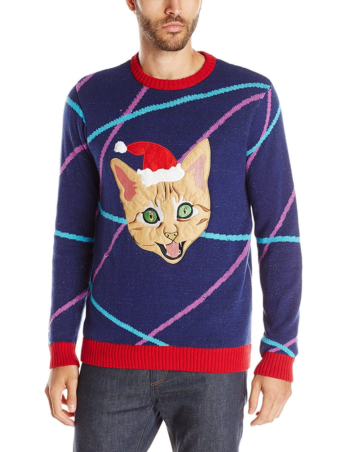 1ad796809 Blizzard Bay Men s Light up Lazer Kitty Ugly Christmas Sweater at Amazon  Men s Clothing store