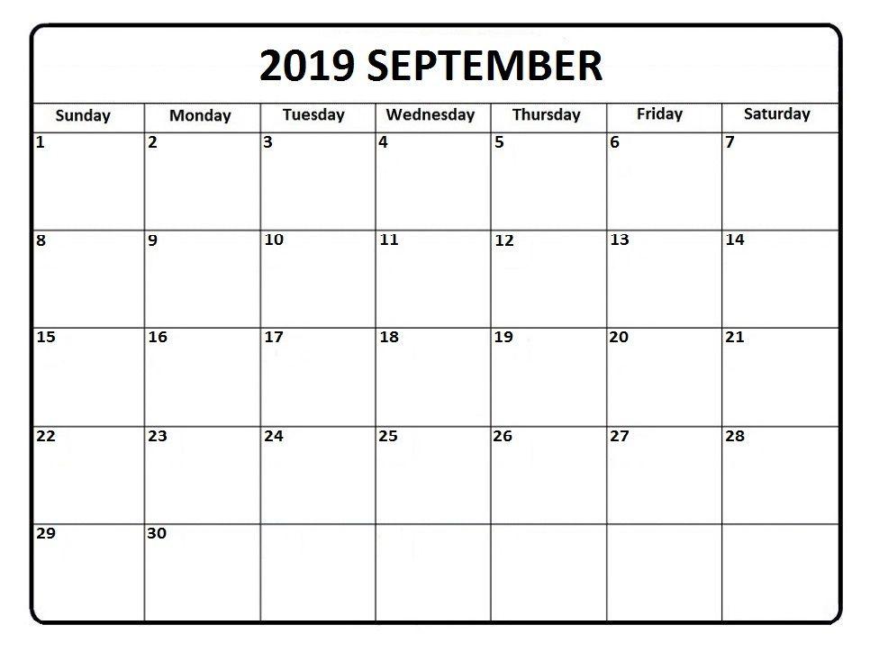 September 2019 Calendar Free Download Monthly Calendar Printable