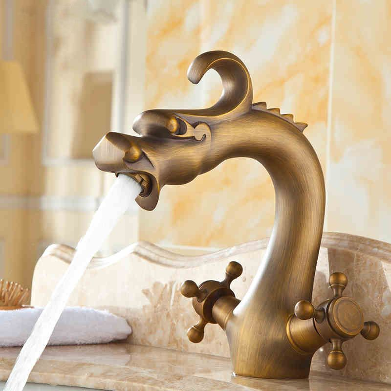 China Dragon Bathroom Basin Mixer Faucet Antique Bronze Brass Dual ...