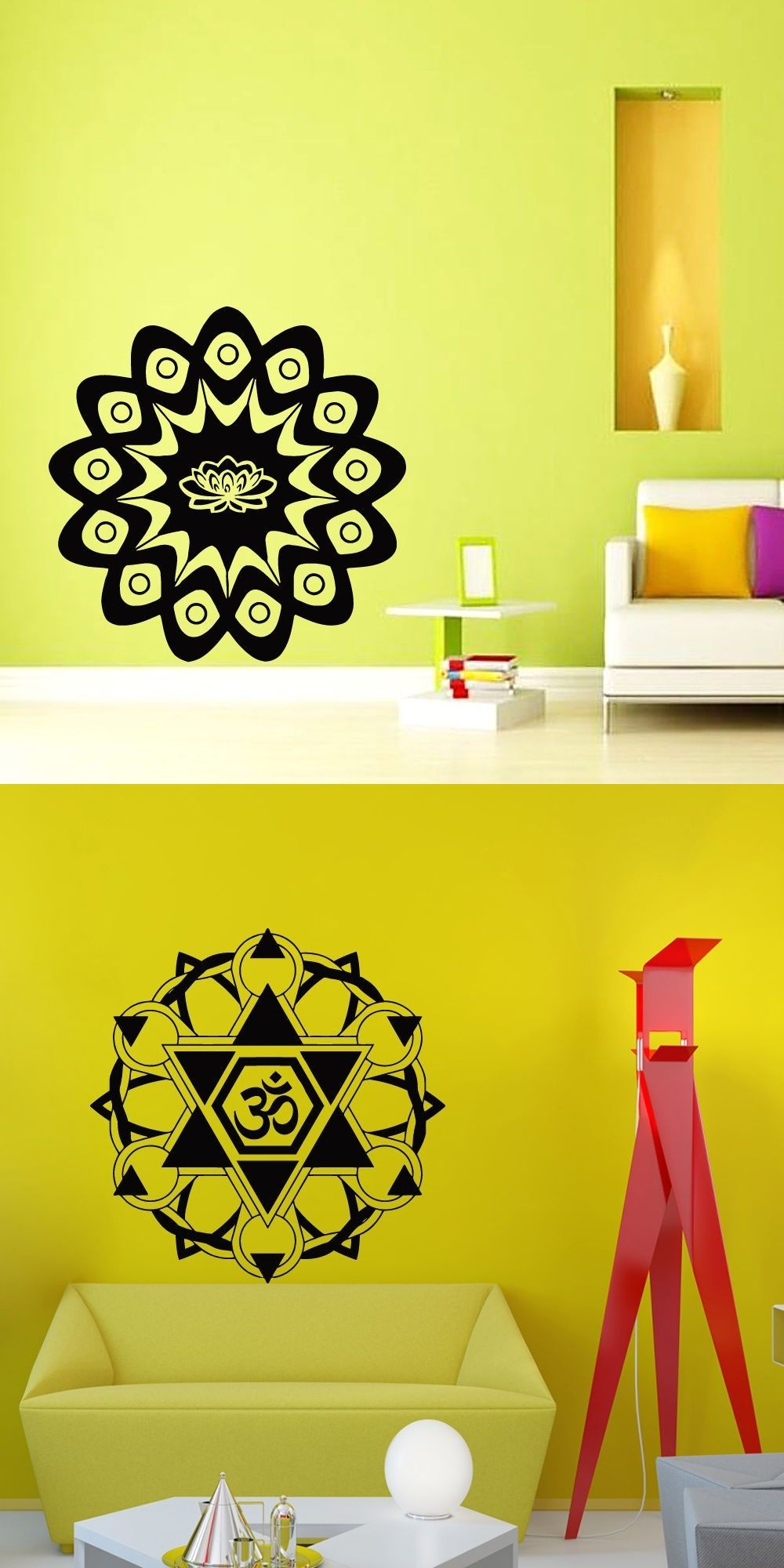 Flower Yoga Wall Stickers Quotes Diy Vinyl Removable Gym Decor ...