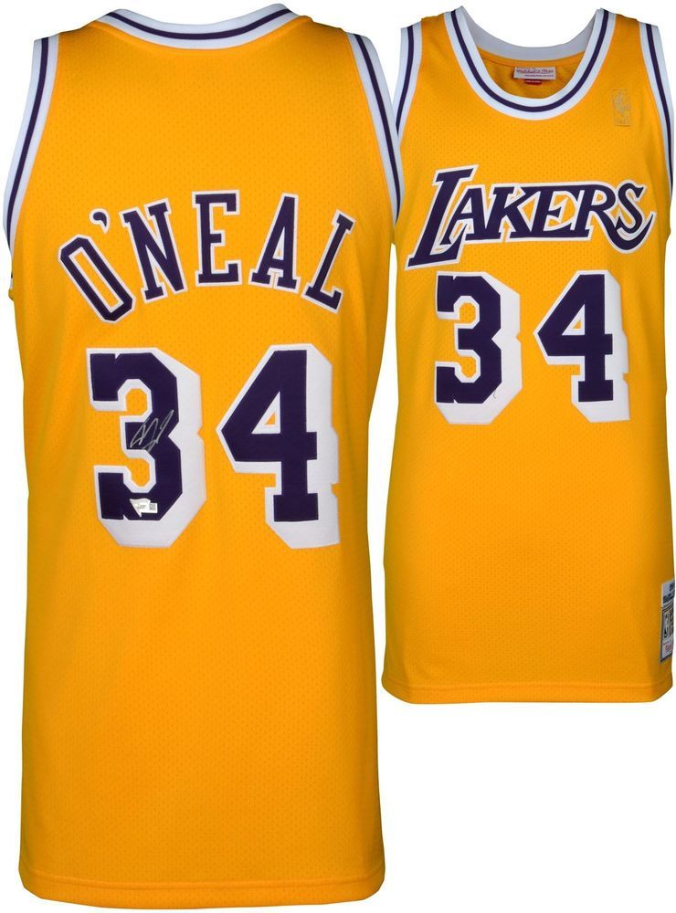 a978f5506aa5 Shaquille O Neal LA Lakers Signed Mitchell   Ness 1996 - 1997 Gold Jersey