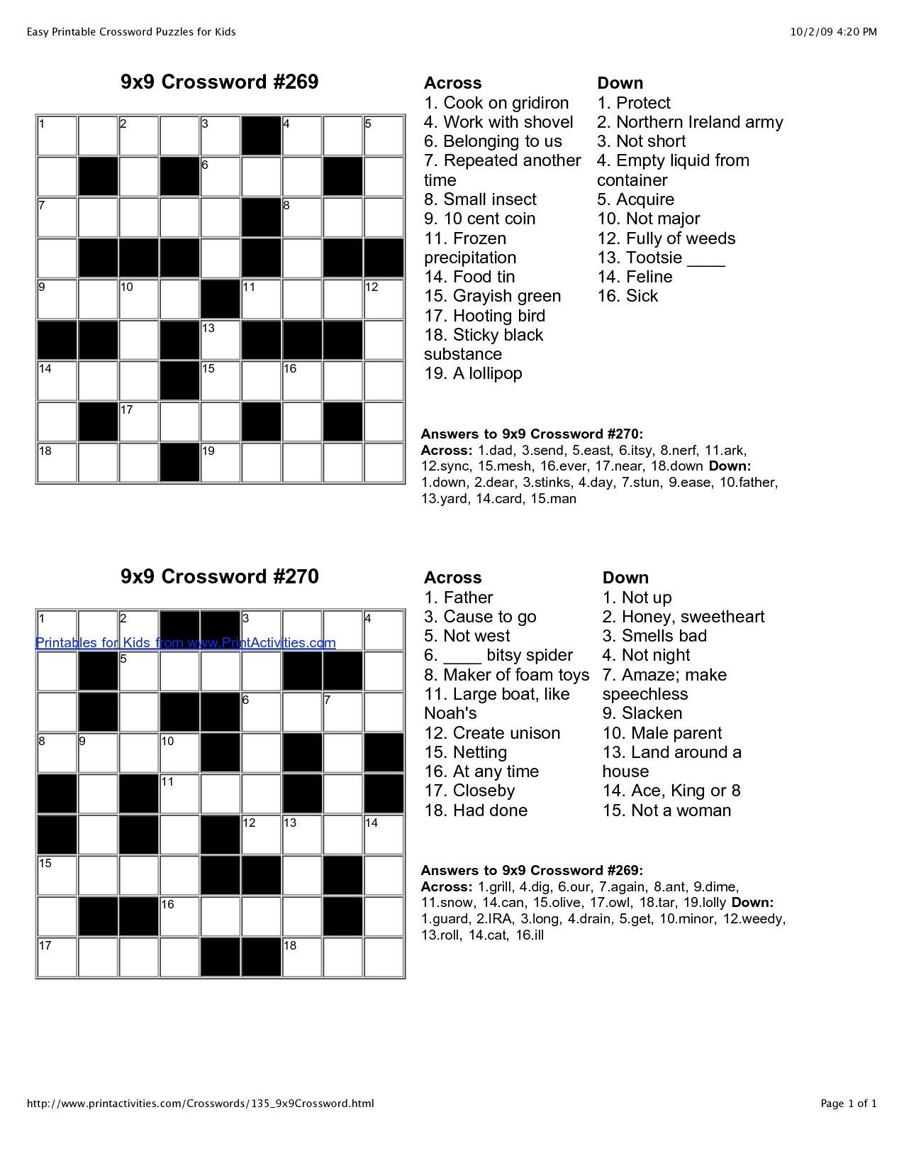 Stylist And Luxury Crossword Puzzles Easy Printable