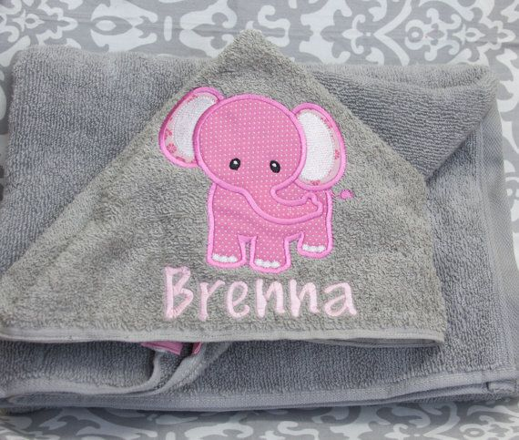 Kid Hooded Towel  Elephant  Personalized  by BluePeonyStitches