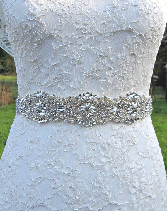 Bridal sash, bridal belt, sash belt, rhinestone sash, pearl crystal ...