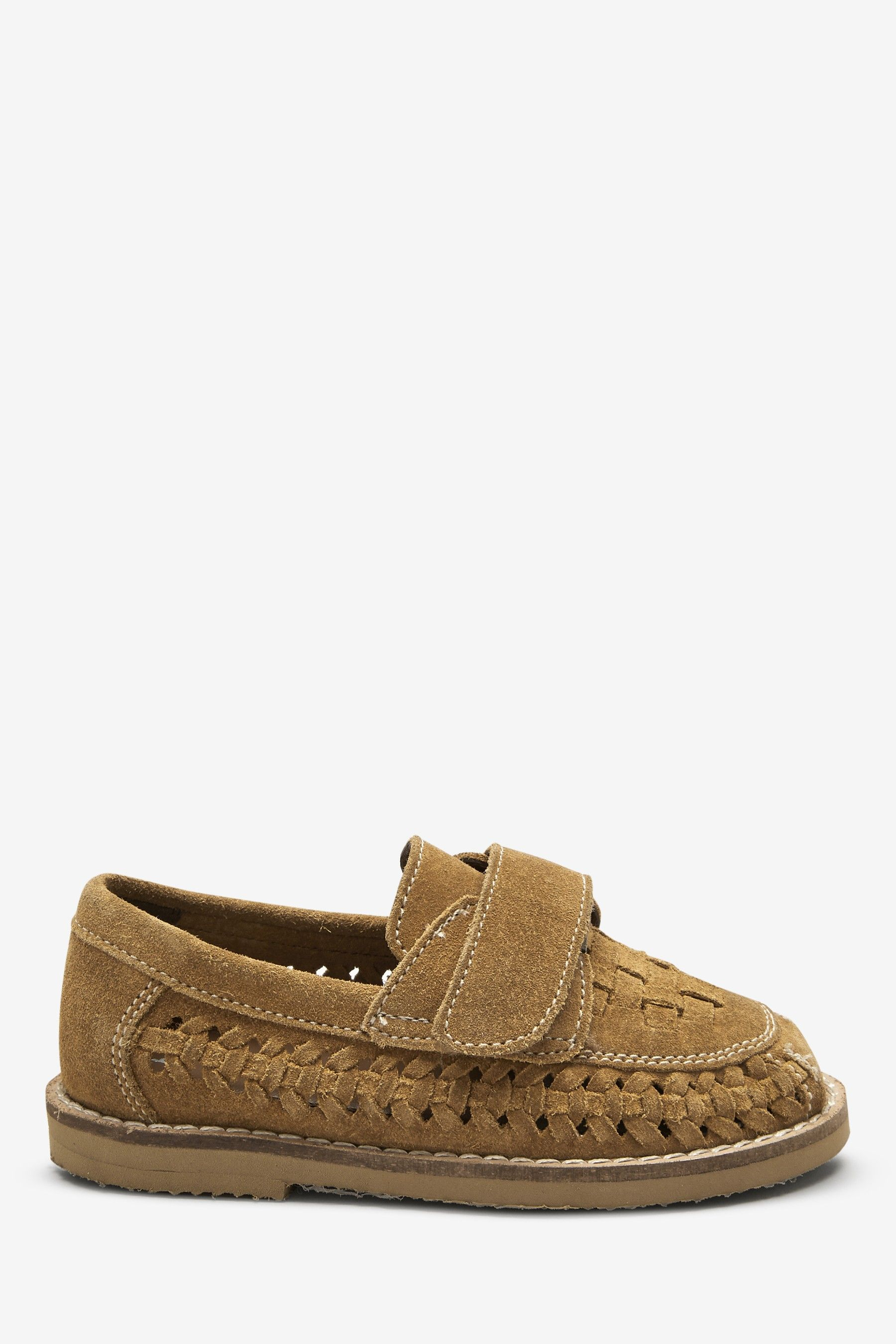 Tan Suede Woven Loafers (Younger