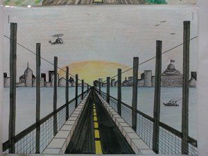 One point perspective road