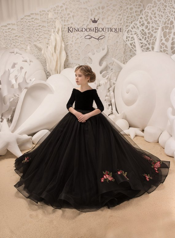 Black Velvet Flower Girl Dress - Birthday Wedding party Bridesmaid Holiday  Black Velvet Flower Girl 2b346827cf71