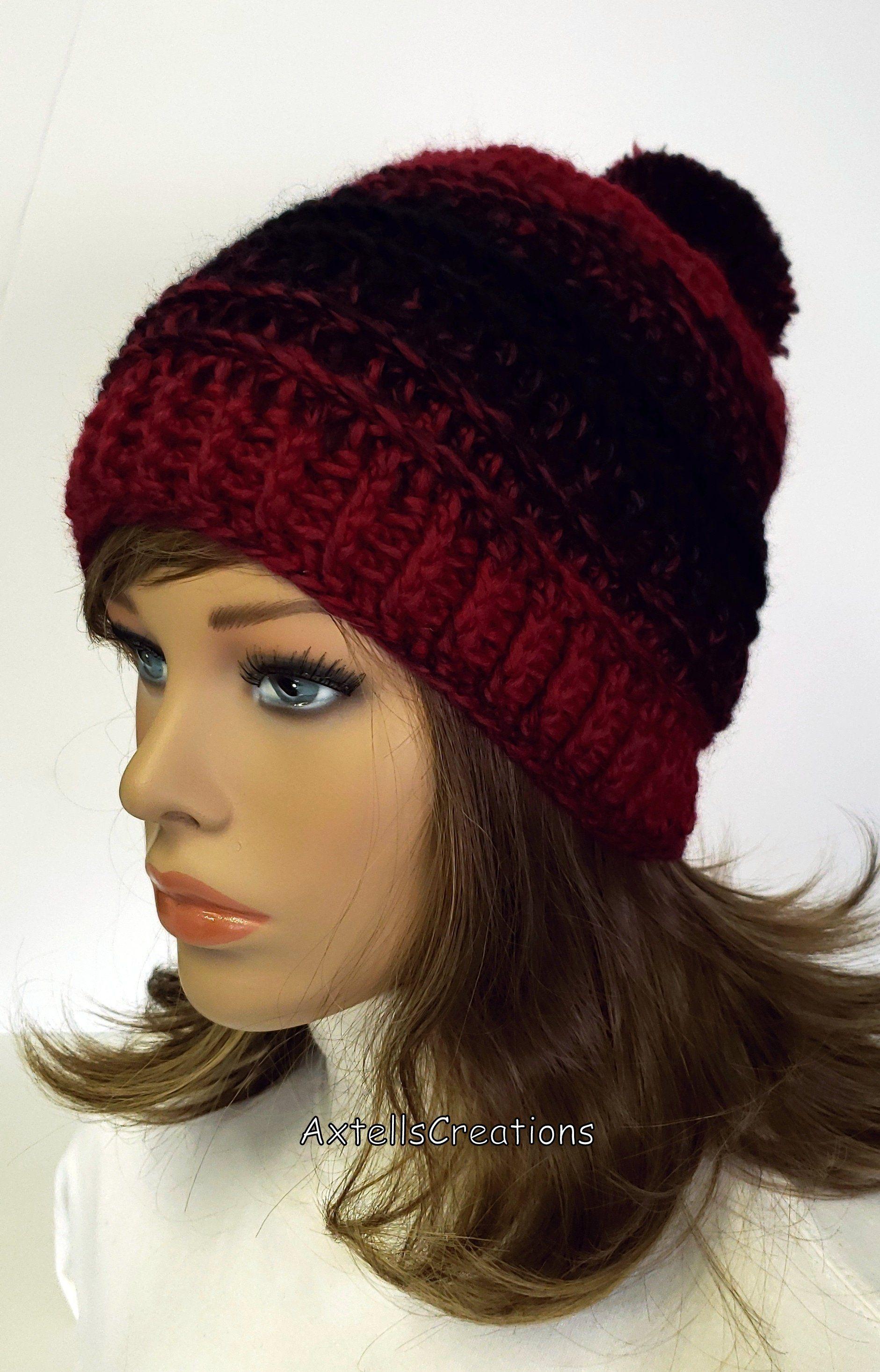 Blue Ombre Stripe Baby Hat with Pom Pom skull cap beanie