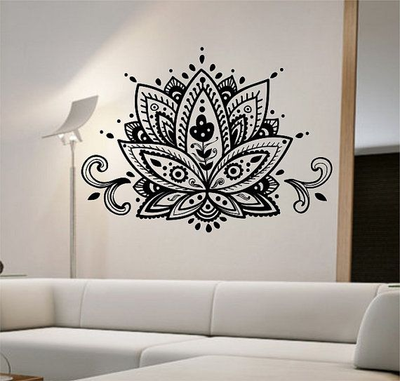 Bohe Mandala Flower Wall Paper Decor Yoga Studio Vinyl: Lotus Flower Wall Decal Vesion 2 Vinyl Sticker Art Decor