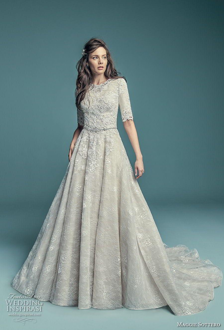 3b61d94703 maggie sottero fall 2018 bridal half sleeves jewel neck full embellishment  elegant modest a line wedding dress covered back chapel train (2) mv --  Maggie ...
