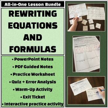Rewriting Equations Formulas All In One Bundle Notes