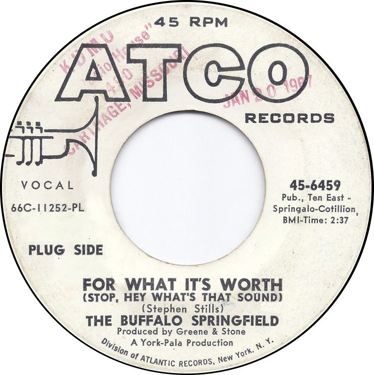 For What It S Worth Buffalo Springfield Atco For What It S Worth Rhythm And Blues Atlantic Records