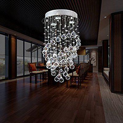 Louvra Cristal Plafonnier Lampe Moderne Finition Chromée Plafond