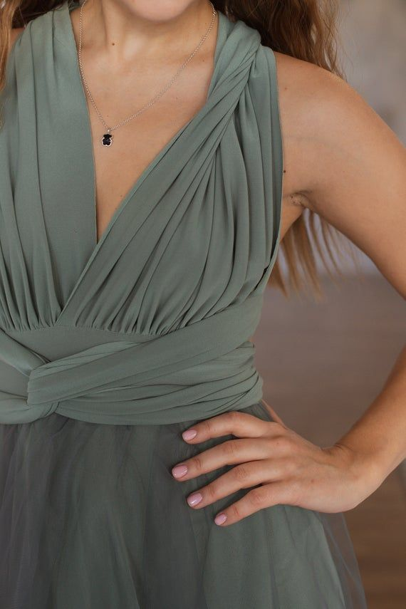 Sage green infinity dress with tulle skirt, Sage green bridesmaid dress, moss green infinity dress, -   17 sage green bridesmaid dresses modest ideas
