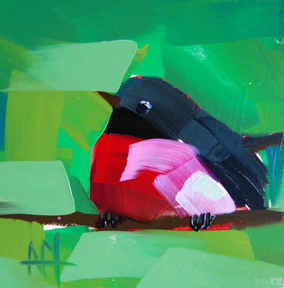 Pink Breasted Robin no. 6 original bird oil by Angela Moulton prattcreekart