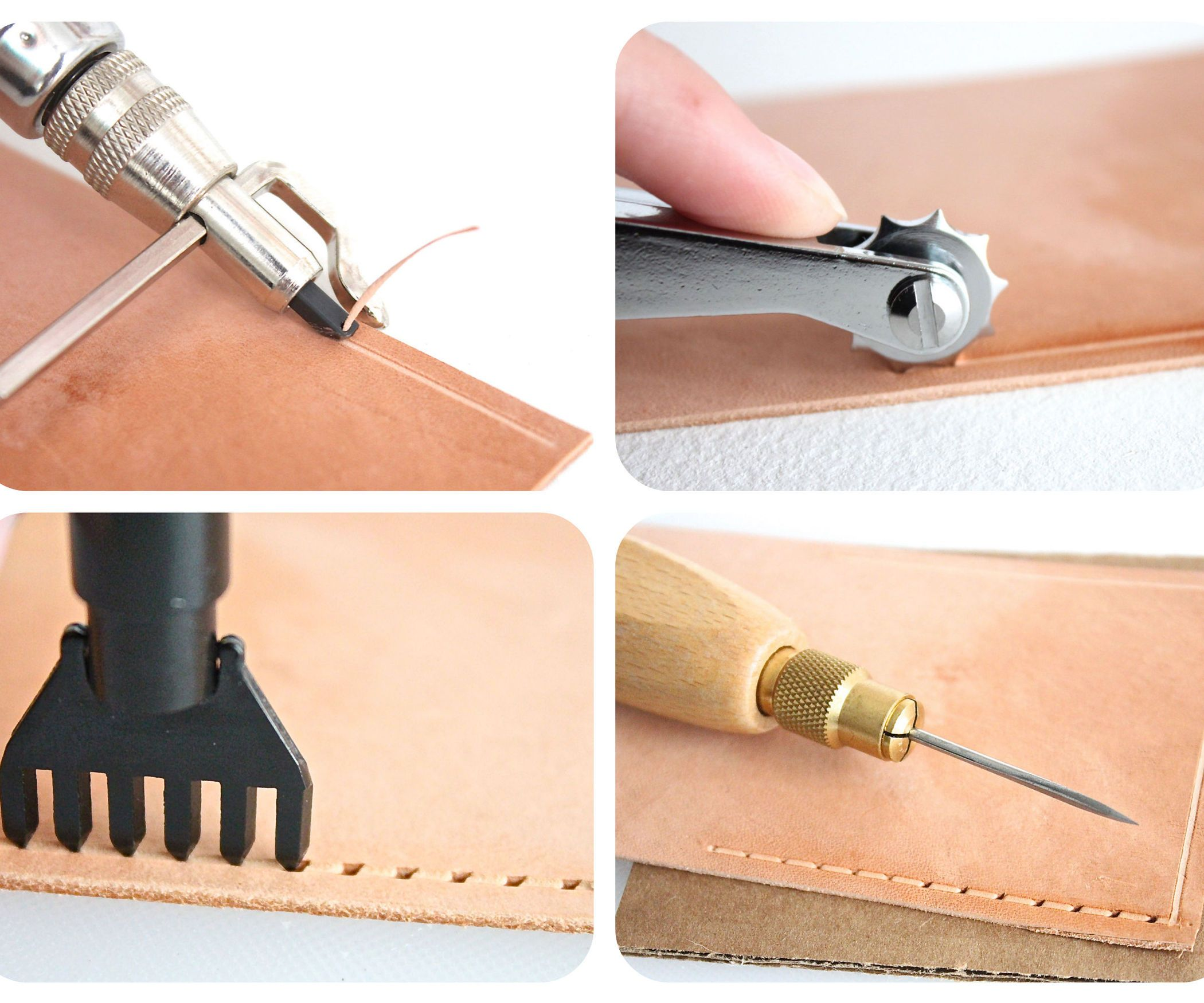 Craftool 10 Piece Diamond Hole Chisel Set Tandy Leather 3009-00 Free Shipping