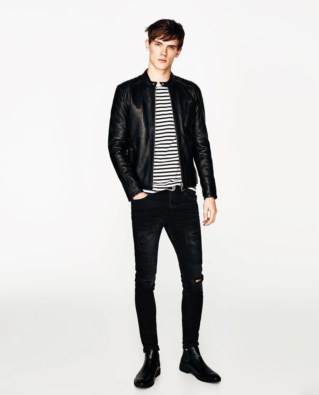 Chaqueta De Cuero Hombre Zara Chaqueta Chaquetadecuero Cuero Hombre Grey Leather Jacket Mens Leather Jacket Cool Jackets For Men