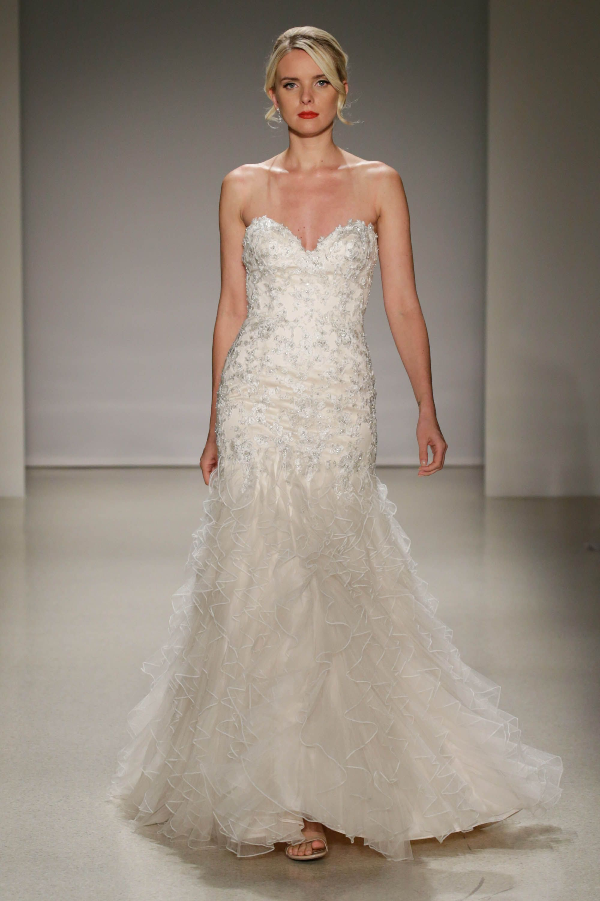 Wedding dresses with ruffles on skirt  Fit and flare wedding dress with ruffle skirt  wedding dresses