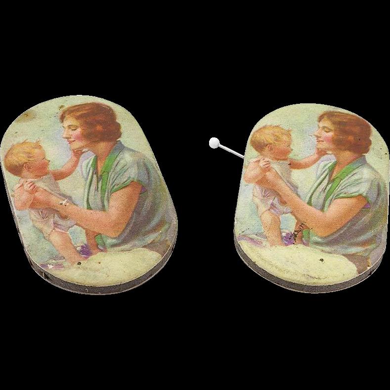 Pair of Vintage Advertising Paper Pincushions Pin