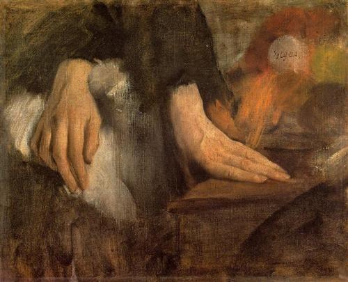Study of Hands - Artista: Edgar Degas Data da Conclusão: c.1860 Estilo: Impressionism Género: sketch and study Técnica: oil Material: canvas Dimensões: 38 x 46 cm Galeria: Musée d'Orsay, Paris, France