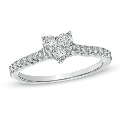 tw diamond heart shaped engagement ring in 14k white gold - Heart Shaped Wedding Ring