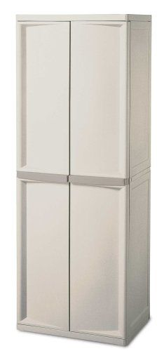 Sterilite 01428501 4 Shelf Utility Cabinet With Putty Handles Platinum Home Garden