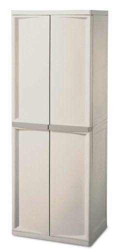 Sterilite 01428501 4 Shelf Utility Cabinet With Putty Handles