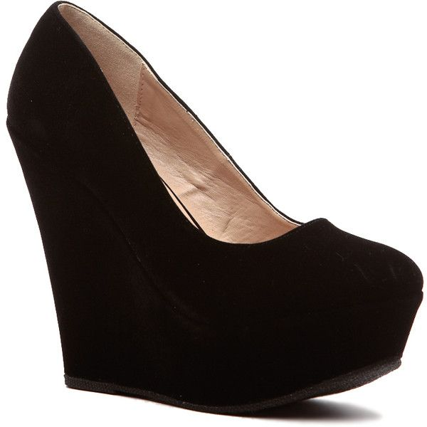 CiCiHot Black Faux Suede Classic Platform Wedges ($22) ❤ liked on ...