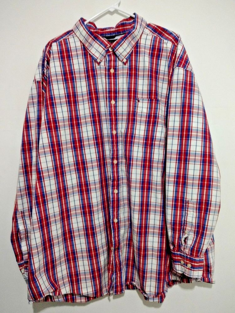 1aebf483 Tommy Hilfiger Mens Plaid Button Down Collar Shirt Red White Blue 4XL  Patriotic #TommyHilfiger #ButtonFront
