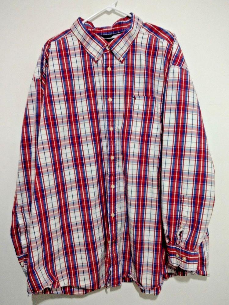 1bb44ffd Tommy Hilfiger Mens Plaid Button Down Collar Shirt Red White Blue 4XL  Patriotic #TommyHilfiger #ButtonFront