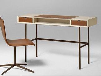 Scrivania rettangolare in legno con cassetti chapeau scrivania con