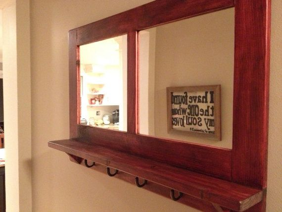 entry organizer wall mirror with key hooks 30 x by ryanwoodworks house stuff pinterest. Black Bedroom Furniture Sets. Home Design Ideas