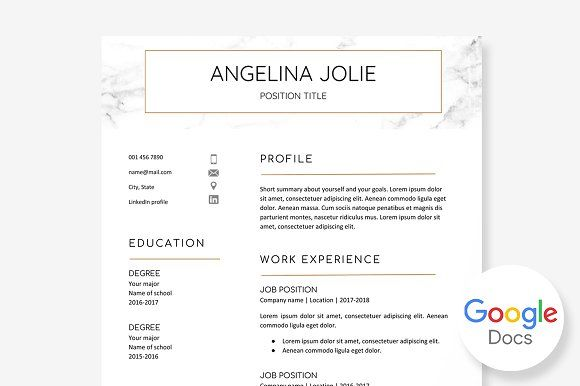 Resume Template Google Docs by @Graphicsauthor Resume CV Templates - google docs resume templates