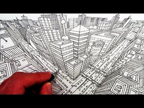 How To Draw A City In Three Point Perspective Youtube Anatomie
