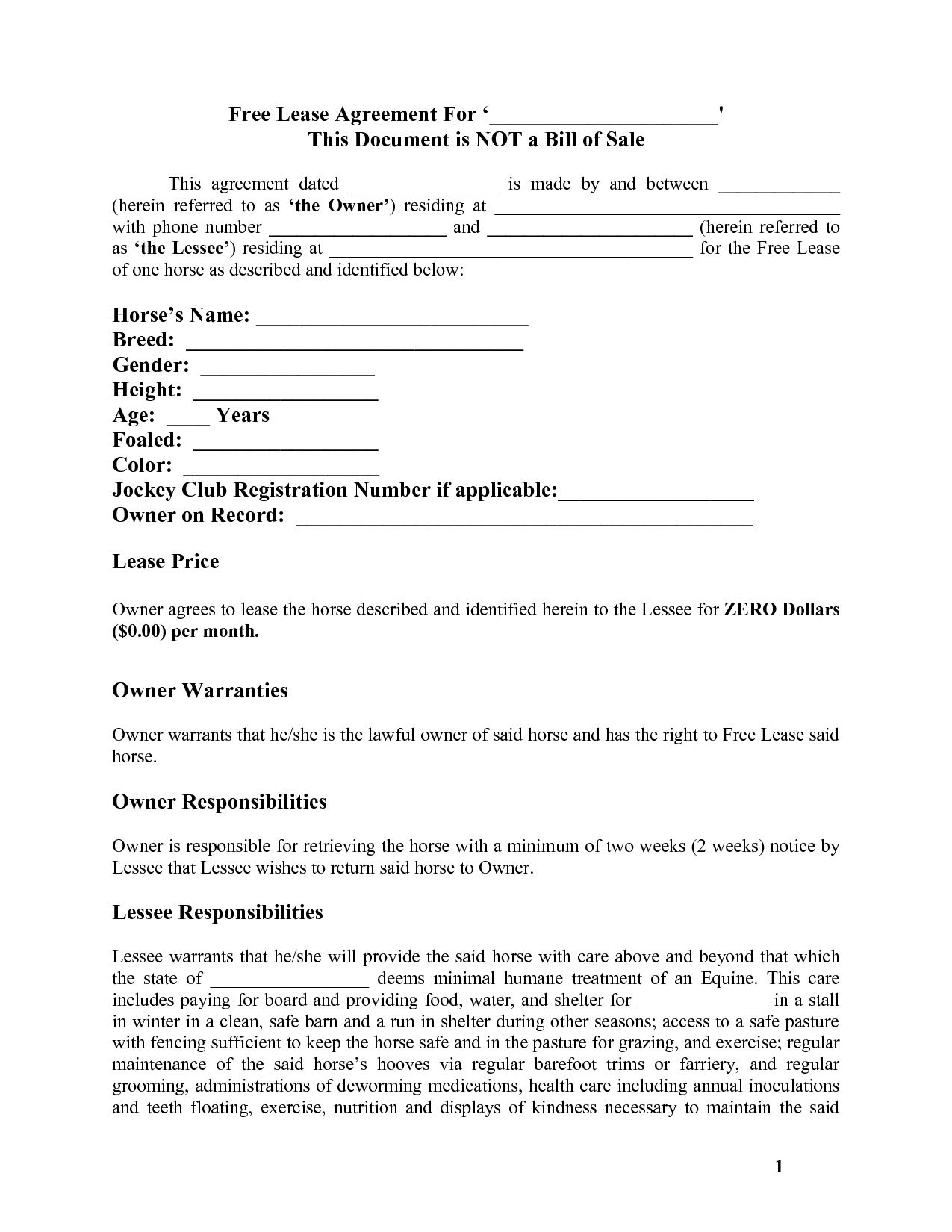 Free Printable Simple Rental Agreement Basic Horse Template