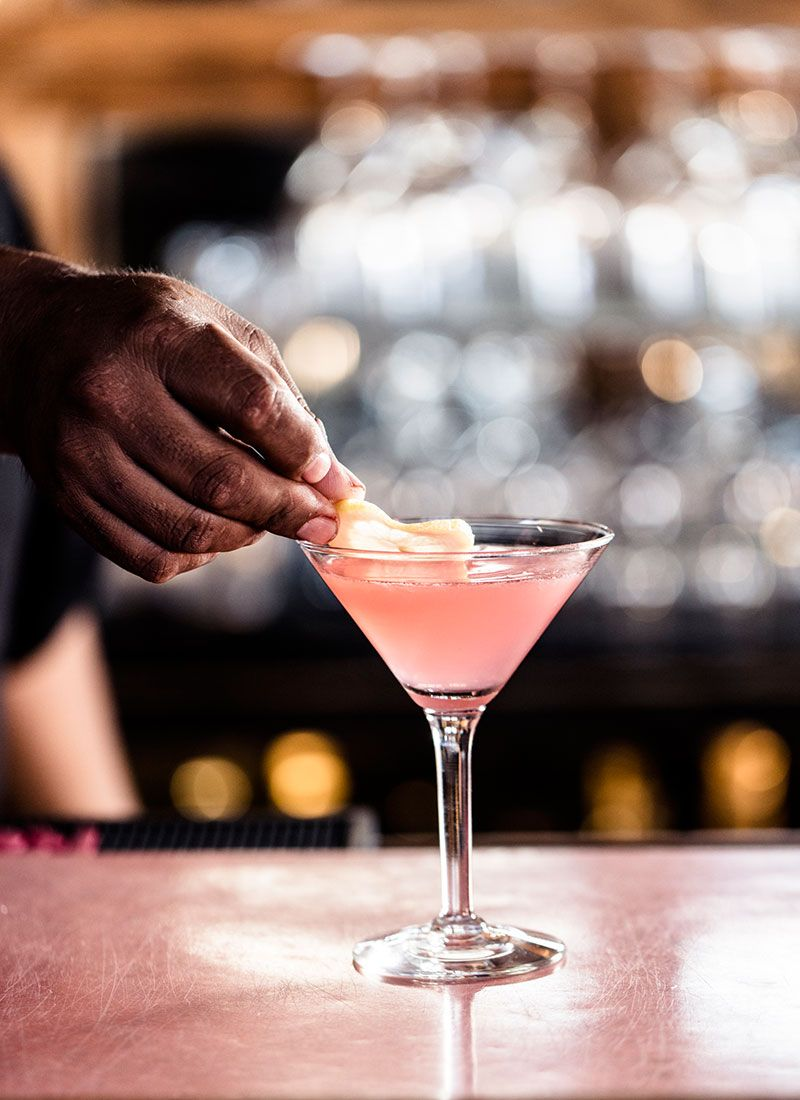 Created by Paul Harrington in 1990, this Pegu Club riff uses Campari in favor or Angostura bitters, and replaces lime juice with lemon juice.