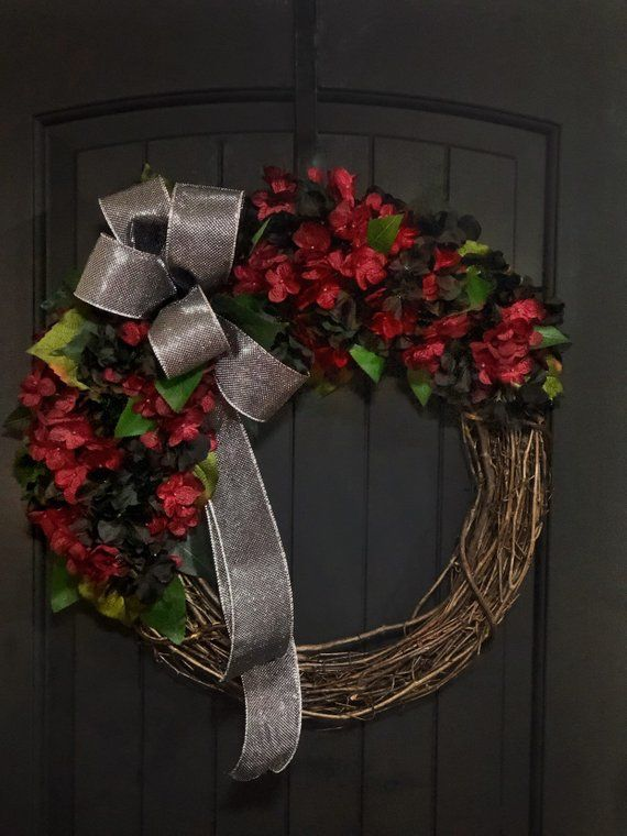 Wreaths For Front Door Red Hydrangea Goth Home Decor Valentine Wall Decorations Gothic De
