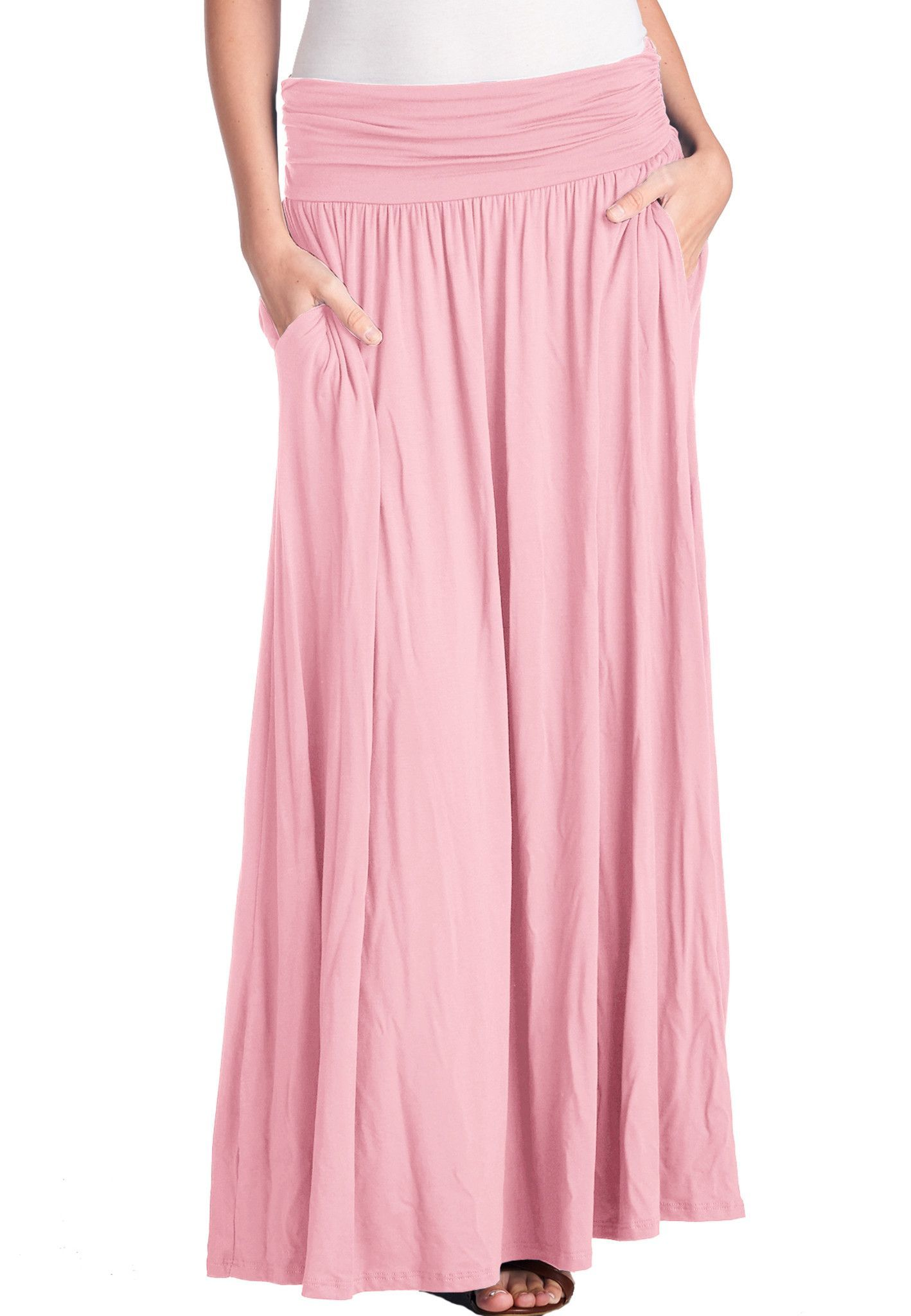 59e3d749675b75 High Waist Fold Over Shirring Maxi Skirt with Pockets | Products ...