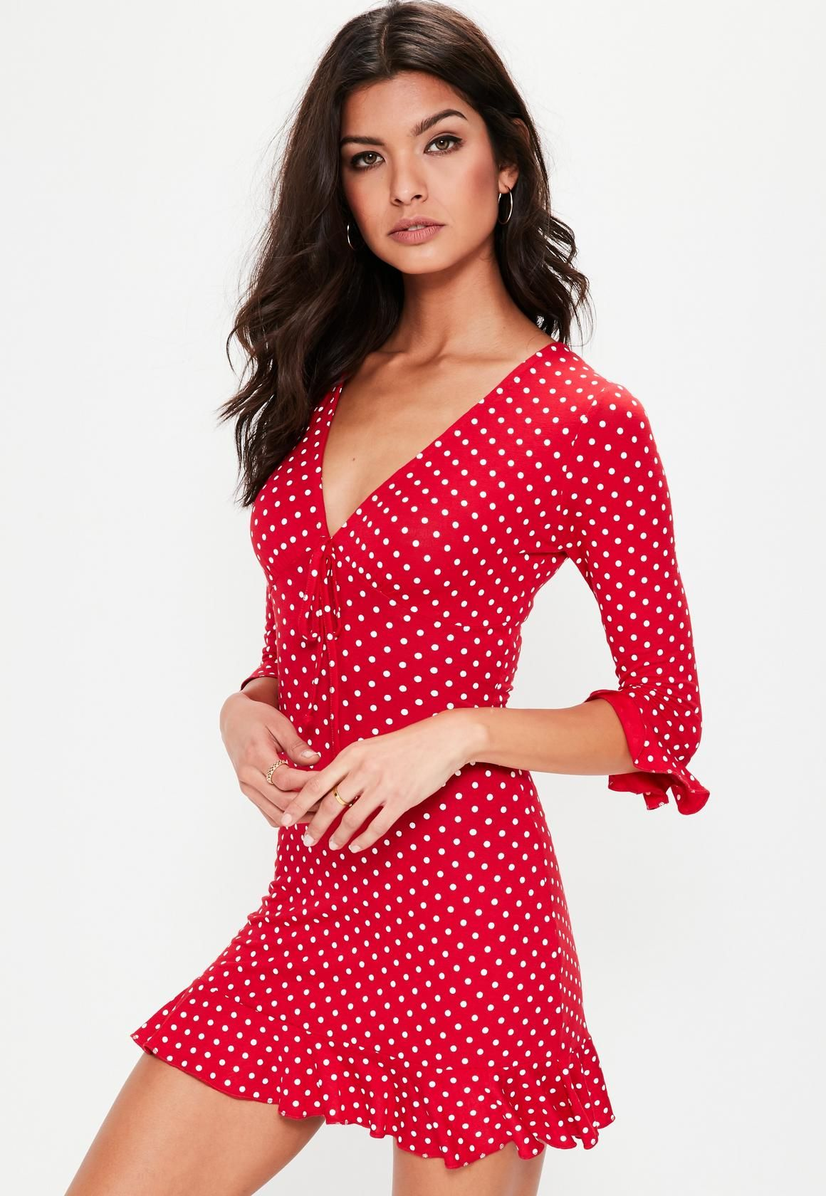47ea81505592 Missguided - Red Polka Dot Print Frill Bodycon Tea Dress | Fashion ...