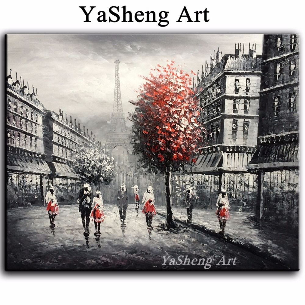New handpainted oil painting black and white red eiffel paris france