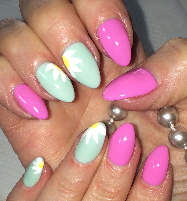Mint green Pink Almond Nails Nail Art Spring Summer 2014 Nail Design ...