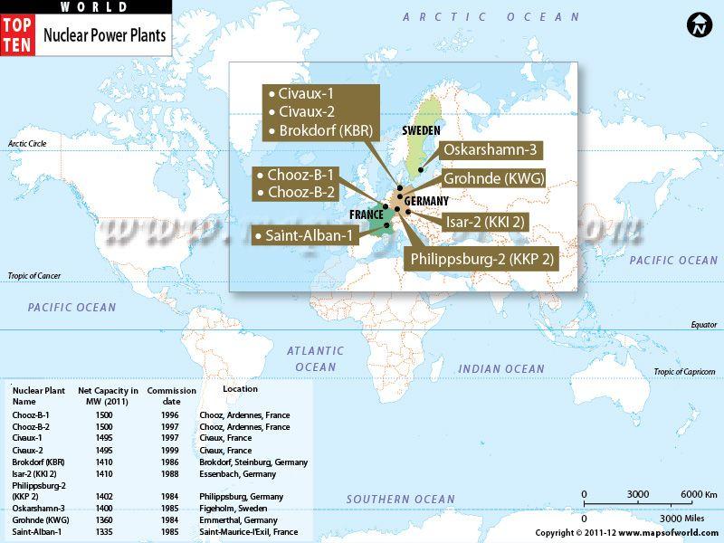 World Map - Top Ten Nuclear Power Plants | Maps | Pinterest ...