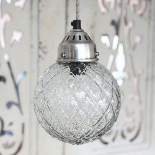 Køb Lampe kugle i glas med tern fra Chic Antique online - Aura4Laura webshop