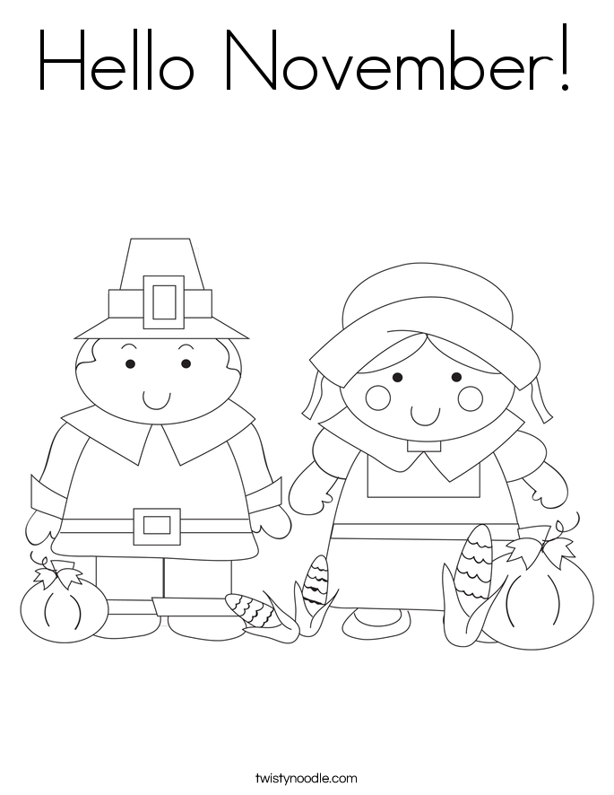 november coloring pages Hello
