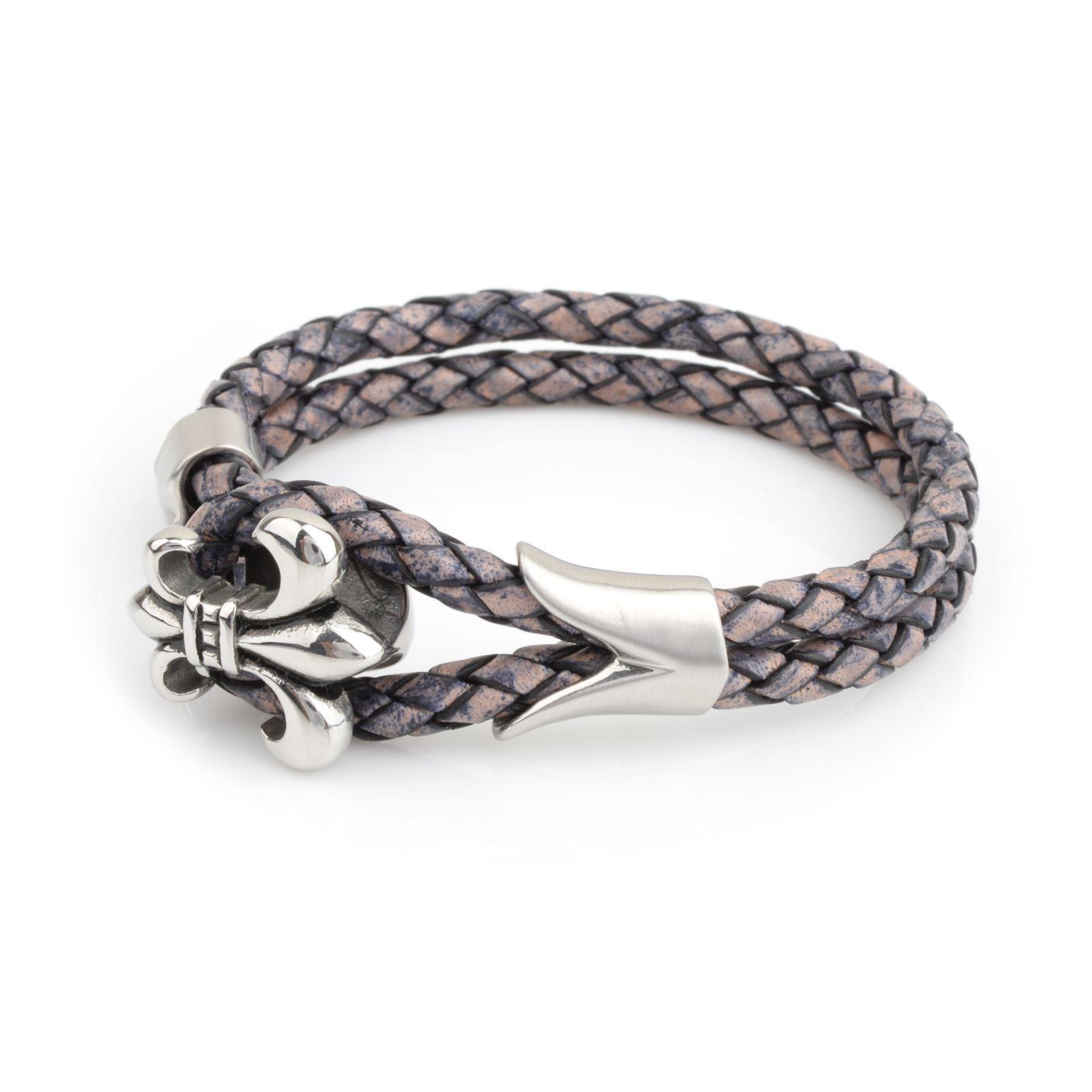 Fine Jewelry Mens Stainless Steel & Black Leather Antiqued Fleur De Lis Bracelet lvsqNHK